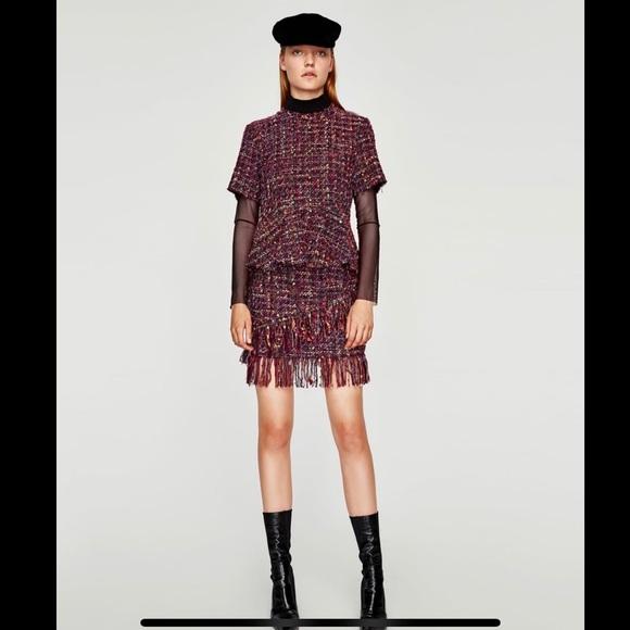 Zara Dresses & Skirts - Set ZARA Tweed Peplum Top& Mini Skirt Size S